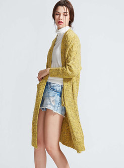 Casual Winter Yellow Monochrome Knitted Cardigan