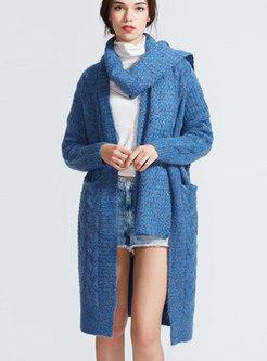 V-neck Deep Blue Long Sleeve Sweater Coat