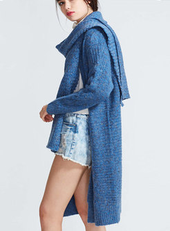 Casual Winter Deep Blue Monochrome Knitted Cardigan