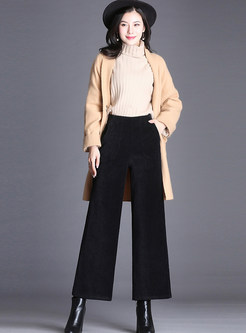 Brief Solid Color Elastic Waist Wide Leg Pants