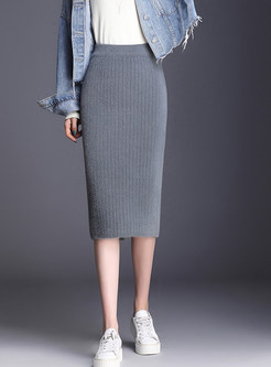 Brief High Waist Slim Slit Bodycon Skirt