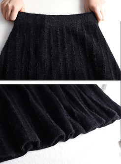 Elastic Waist Easy-matching Knitted Midi Skirt
