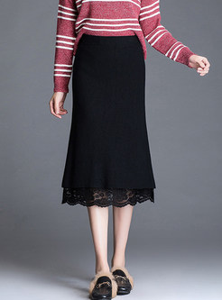 Chic Lace Patchwork Knitted Slim Sheath Skirt
