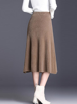 Fashion Slim Knitted Mid-claf A Line Skirt