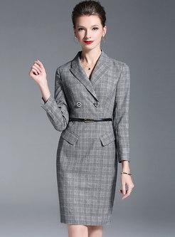 OL Work Lapel Tie-waist Grid Sheath Dress