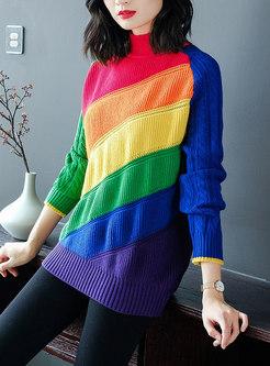 Fashion Thicken Turtle Neck Rainbow Sweater