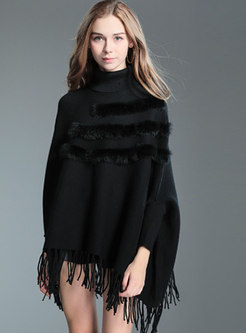 Stylish Turtle Neck Tied Tassel Detail Knitted Sweater