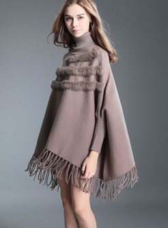 Stylish Khaki Turtle Neck Fringed Detail Knitted Sweater