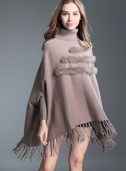 Turtleneck Fringed Detail Knitted Sweater