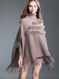 Stylish Khaki Turtle Neck Fringed Detail Knitted Sweater