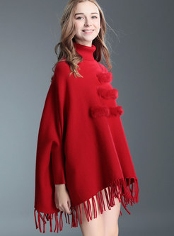 Stylish High Neck Tied Tassel Detail Knitted Sweater