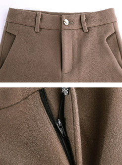 High Waist Woolen Wide Leg Pants With Button