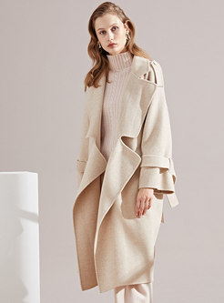 Autumn Beige Solid Color Notched Wool Coat
