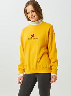 Casual Cotton O-neck Pullover Loose Sweatshirt