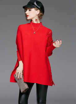 Solid Color Hollow Out Bat Sleeve Sweater