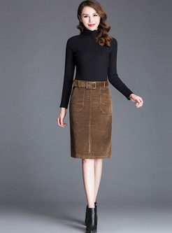 High Waist Slim Slit Bodycon Skirt With Belt