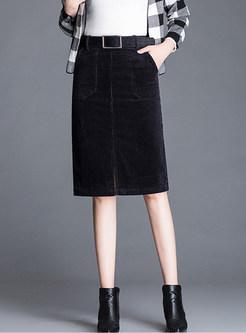 215da3fd0d94 Trendy Belted Big Pocket Slit Knee-length Skirt