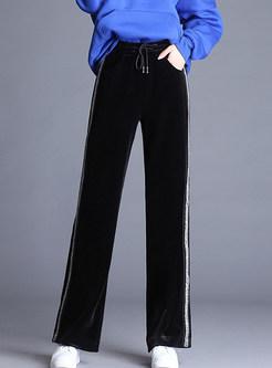 Gold Velvet Elastic Waist Tied Wide Leg Pants