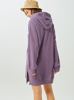 Cute Color-blocked Animal Print Slit Dress