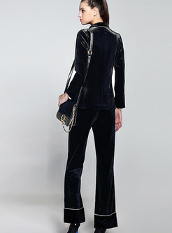 OL Work Daily Turn-down Collar Blazer & High Waist Wide-leg Pants