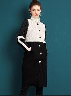 Brief Black-white Blocked Buttoned Coat
