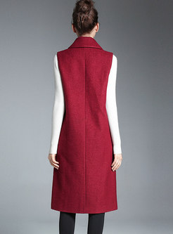 Fashion Red Notched Double-breasted Wool Vest