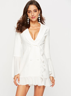 Fashion Notched Single-breasted Fit Flare Dress