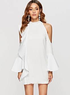 Fashion Off Shoulder Flare Sleeve Sheath Mini Dress