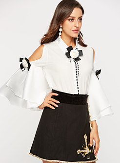 Chic OL White Flare Sleeve Slim Blouse