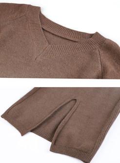 V-neck Long Sleeve Sweater & Slim Shearling Skirt