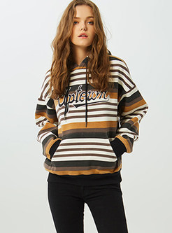 Fashion Hooded Color-blocked Striped Sweatshirt