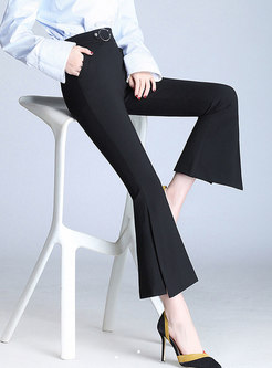 Trendy Autumn High Waist Flare Pants