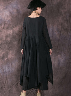 Fashion Black Pleated Linen Asymmetric Maxi Dress