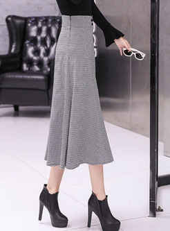Fashion High Waist Houndstooth Big Hem A Line Skirt