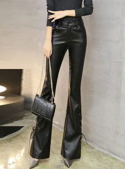 Autumn Black PU Flare Pants With Strap