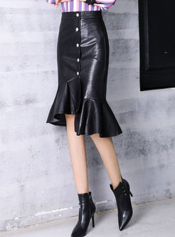 Stylish Black PU Ruffled Hem Asymmetric Skirt