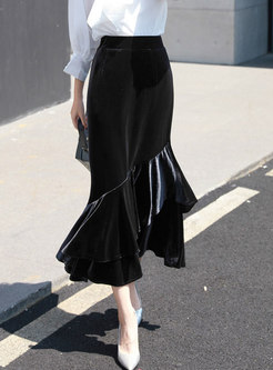 Stylish High Waist Falbala Hem Sheath Mermaid Skirt