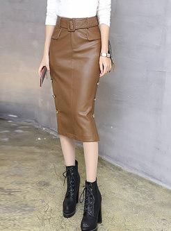 Autumn PU Buttoned Wrap Sheath Skirt With Split