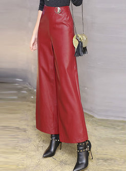 Winter Red Mid Waist Thicken Straight PU Pants