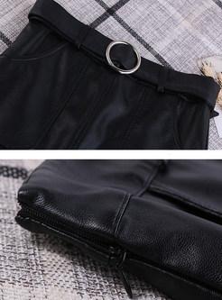 Trendy PU A Line Knee-length Skirt With Belt