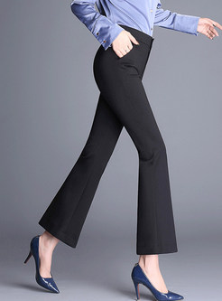 Solid Color Slim Elastic Flare Pants With Button