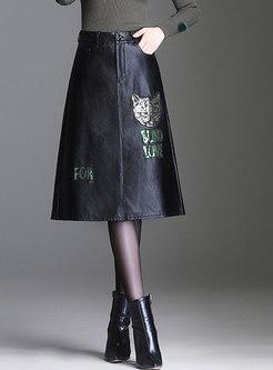 Autumn PU High Waist Print A Line Midi Skirt