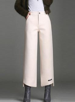 Trendy High Waist Slit Wide Leg Pants With Button