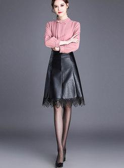 Stylish PU Lace Stitching Easy-matching Skirt