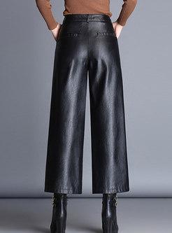Casual PU Black High Waist Wide-leg Pants