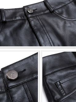 Stylish Black Stitching Gauze Bodycon PU Skirt