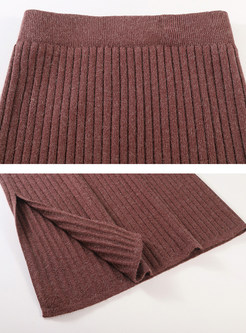 High Waist Slim Slit Sheath Knitted Skirt