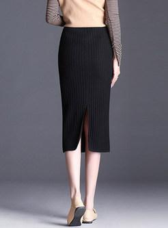 Stylish Elastic Waist Mid-claf Slit Knitted Skirt