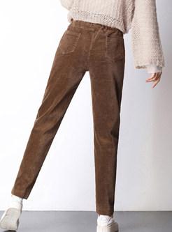 Elastic High Waist Tied Pocket Pencil Pants