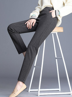 Elastic Waist Slim Harem Pants With Pocket